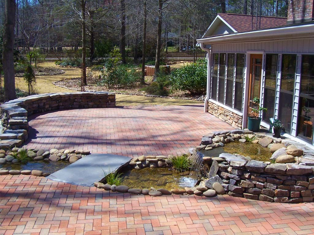 brick patio with rock water feature creative habitats